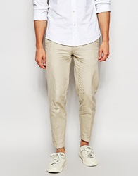 Dkny Cropped Trouser Slim Fit Turn Up Stone