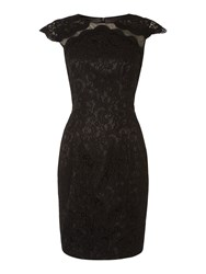 Js Collections Cap Sleeve All Over Lace Dress Black