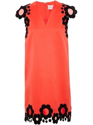 Christopher Kane Dress With Velvet Flowers Red