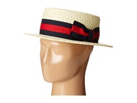 Straw Boater With Two Tone Stripe Grosgrain Ribbon Bleach Caps Blue