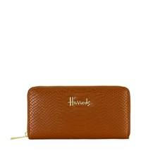 Harrods Ash Embossed Zip Around Wallet Unisex