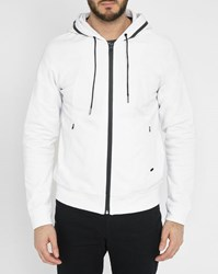 Ikks White Hooded And Zipped Cardigan With Side Pockets