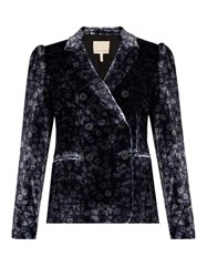 Rebecca Taylor Liane Double Breasted Floral Print Velvet Jacket Blue Multi