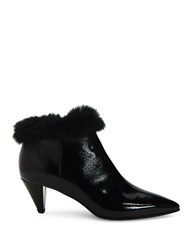 Aquatalia By Marvin K Antonia Point Toe Fur Trim Leather Ankle Boots Black