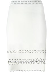 Alexander Mcqueen Wavy Embroidered Pencil Skirt Nude And Neutrals