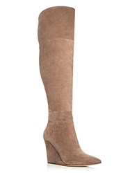 Pour La Victoire Serra Over The Knee Wedge Boots Taupe