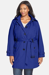 Michael Michael Kors Single Breasted Raincoat Plus Size Sapphire