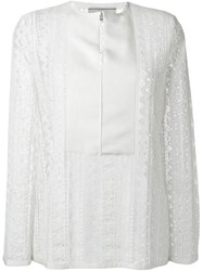 Lanvin Bib Lace Blouse White