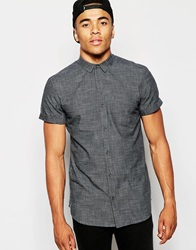 New Look Short Sleeve Shirt With Crosshatch Textured Detail Black