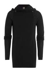 Rick Owens Men Cotton Cashmere Hooded Cardigan Black
