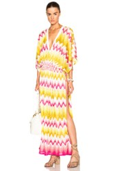 Missoni Mare Maxi V Neck Caftan In Yellow Geometric Print Yellow Geometric Print