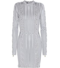 Balmain Embellished Mini Dress Grey