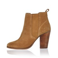River Island Womens Tan Suede Heeled Ankle Boots