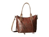 American West Mystic Shadow Convertible Bucket Tote Chestnut Brown Distressed Charcoal Brown Tote Handbags