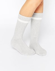 Monki Knee Length Socks Greymelange