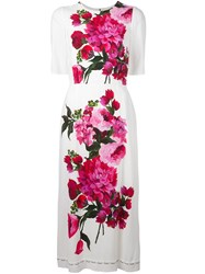 Dolce And Gabbana Floral Print Dress White
