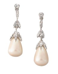 Carolee White Pearl With Crystal Linear Teardrop