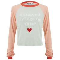 Wildfox Couture Wildfox Women's Luca Crop Bad Date Long Sleeved Top Rainy Day Blue Vintage Lace Multi