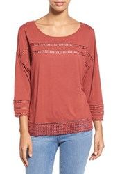 Caslon Women's Lace Detail Three Quarter Sleeve Top Red Cowhide