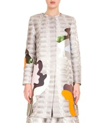 Mary Katrantzou Abstract Jacquard Collarless Coat Silver
