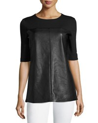 Bagatelle Faux Leather Paneled Tunic Black