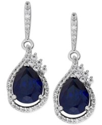 Macy's Lab Created Sapphire 4 5 8 Ct. T.W. And White Sapphire 1 2 Ct. T.W. Drop Earrings In Sterling Silver