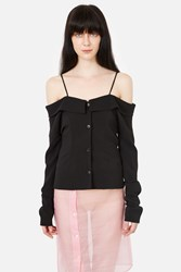Pepa Salazar Off The Shoulder Button Down Shirt Black