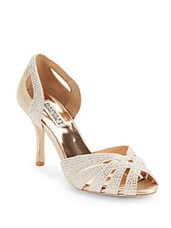 Badgley Mischka Tatiana Rhinestone D'orsay Evening Sandals Gold