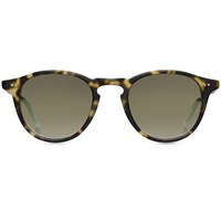 Garrett Leight Hampton Matte Tokyo Spotted Tortoise Gold Reflective Sunglasses Brown