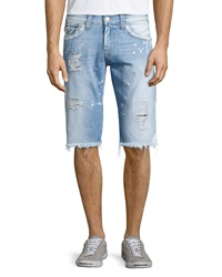 True Religion Ricky Sail Away Bleached Shorts Blue