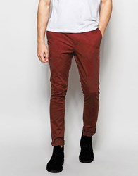Asos Super Skinny Chinos In Brown Chestnut