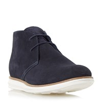 Dune Cove Suede Hybrid Wedge Boots Navy