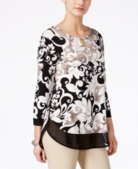 Jm Collection Petite Layered Look Three Quarter Sleeve Printed Blouse Only At Macy's Black Island