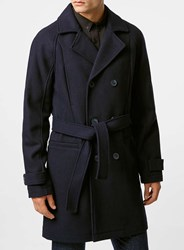 Topman Navy Wool Blend Belted Trench Coat Blue