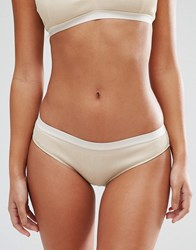 Weekday Jane Sparkly Rib Briefs Beige And Gold