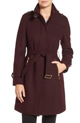 Cole Haan Signature Women's Funnel Neck Wool Blend Coat Bordeaux