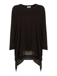 Label Lab Long Sleeve Chiffon Mix Top Black