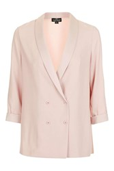 Topshop Petite Double Breasted Slouch Blazer Blush