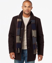 Tommy Hilfiger Melton Peacoat With Scarf