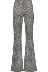 Lela Rose Sam Cotton Blend Jacquard Bootcut Pants Black