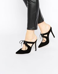 Asos Play To Win Pointed Heeled Mules Black