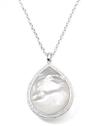 Stella Large Teardrop Pendant Necklace In Mother Of Pearl With Diamonds Ippolita Silver
