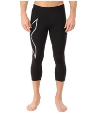 2Xu Hyoptik Thermal Compression 3 4 Tights Black Silver Reflective Men's Workout