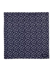 T.M.Lewin Paisley Silk Patterned Handkerchief Navy And White