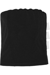 Y 3 Strapless Stretch Cotton Crepe Top Black