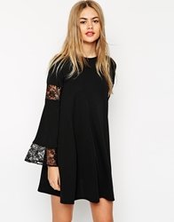 Asos Boho Swing Dress With Long Sleeve And Lace Inserts Black