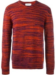 Ymc Blur Stripe Design Jumper Red
