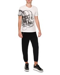 Alexander Mcqueen Skull Drawing Crewneck Tee White Black