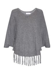 Velvet By Graham And Spencer Trinity Fringed Hem Cashmere Poncho