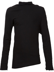 Obscur Draped Knit Polo Shirt Black